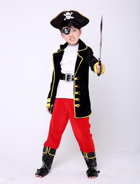 Milanoo Kids Halloween Pirate Costume Kids Halloween Black Boys Cosplay Outfit