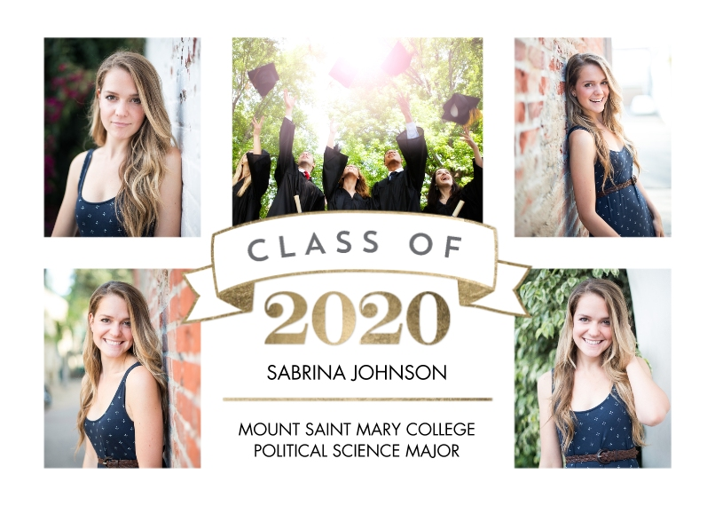 2020 Graduation Announcements Flat Matte Photo Paper Cards with Envelopes, 5x7, Card & Stationery -2020 Grad Class Banner by Tumbalina
