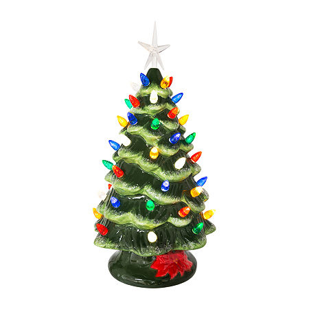 Kurt Adler 12.8-Inch Battery-Operated Led Ceramic Pink Christmas Tree Christmas Tabletop Decor, One Size , Multiple Colors