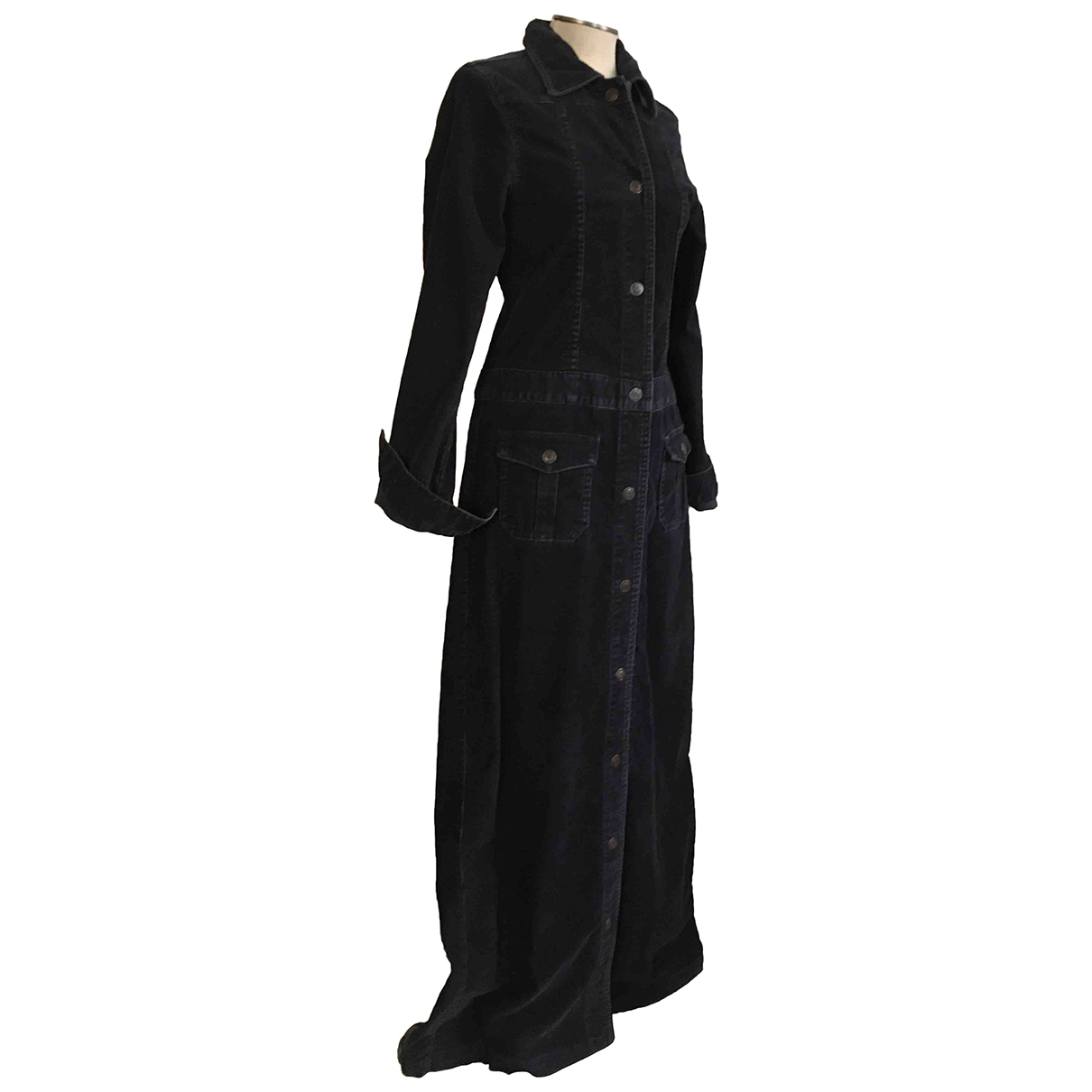 Non Signe / Unsigned \N Kleid in  Blau Samt