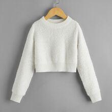 Einfarbiger Crop Pullover