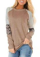 Striped Splicing Leopard T-Shirt Tee - Khaki