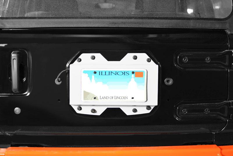 Steinjager J0048651 Rear License Plate Relocator  Wrangler JL 2018 to Present Cloud White