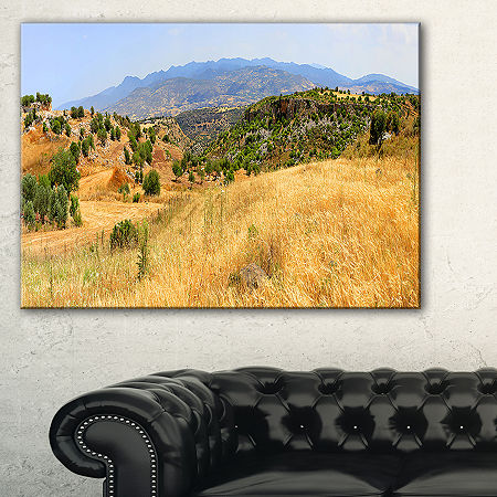 Designart Cyprus Landscape Panoramic View Canvas Art, One Size , Yellow