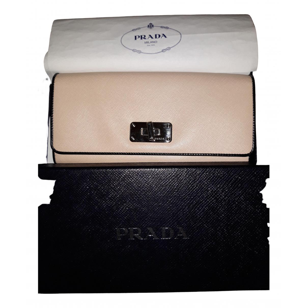 Prada - Portefeuille   pour femme en cuir - ecru