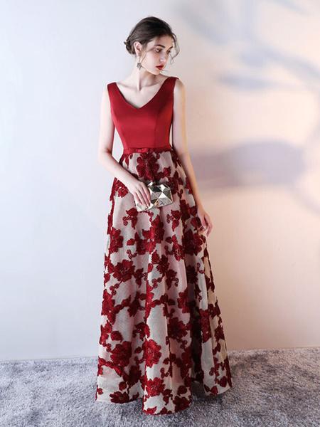 Milanoo Blue Prom Dress 2020 Long Satin Floral Print Evening Dress Dark Navy V Neck Backless Floor Length Formal Dress