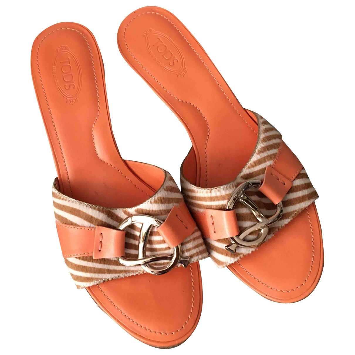 Tod's \N Orange Leather Sandals for Women 39 EU