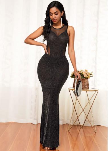 Black Dresses Cutout Back Round Neck Mesh Panel Maxi Dress - S