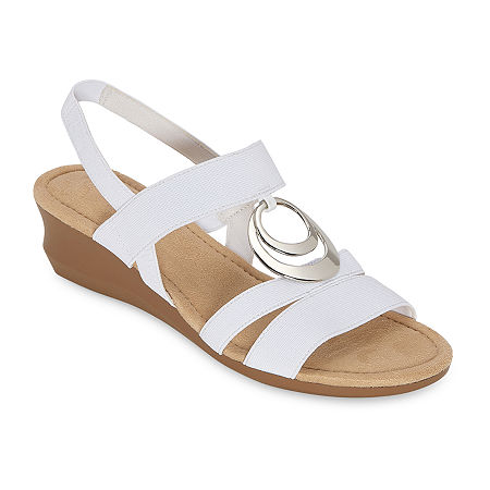 east 5th Womens Gear Wedge Sandals, 9 1/2 Medium, White