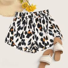 Plus Shirred Leopard Print Shorts