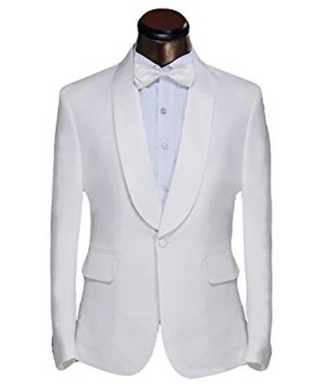 Mens White Shawl Lapel 1 Button Dinner Jacket And Trouser Suit