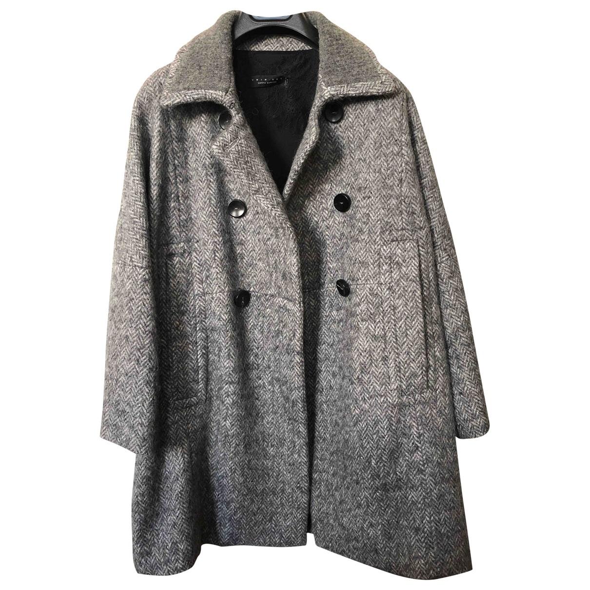 Twin Set - Manteau   pour femme en laine - gris
