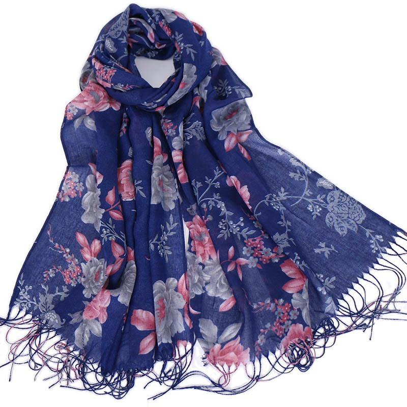 Ericdress Tassel Cotton Floral Scarf