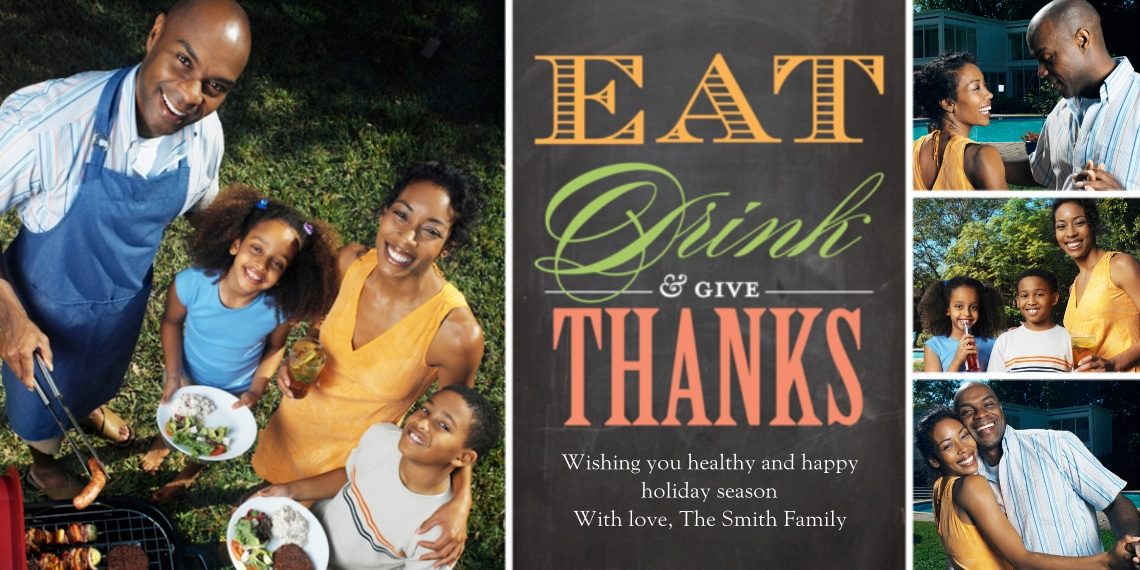 Thanksgiving Photo Cards Flat Matte Photo Paper Cards with Envelopes, 4x8, Card & Stationery -Thanksgiving Eat Drink Thanks