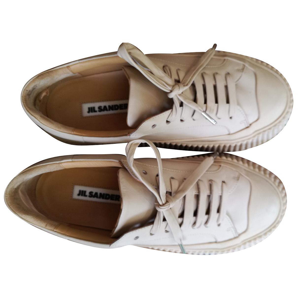 Jil Sander - Baskets   pour femme en cuir - beige