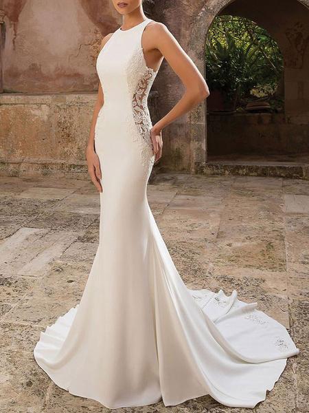 Milanoo Simple Wedding Dress Lycra Spandex Jewel Neck Sleeveless Lace Mermaid Bridal Dresses