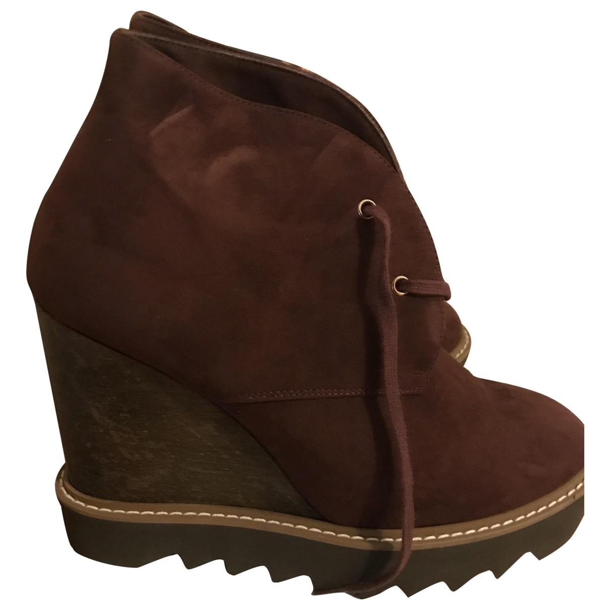 Stella Mccartney - Boots   pour femme en toile - bordeaux
