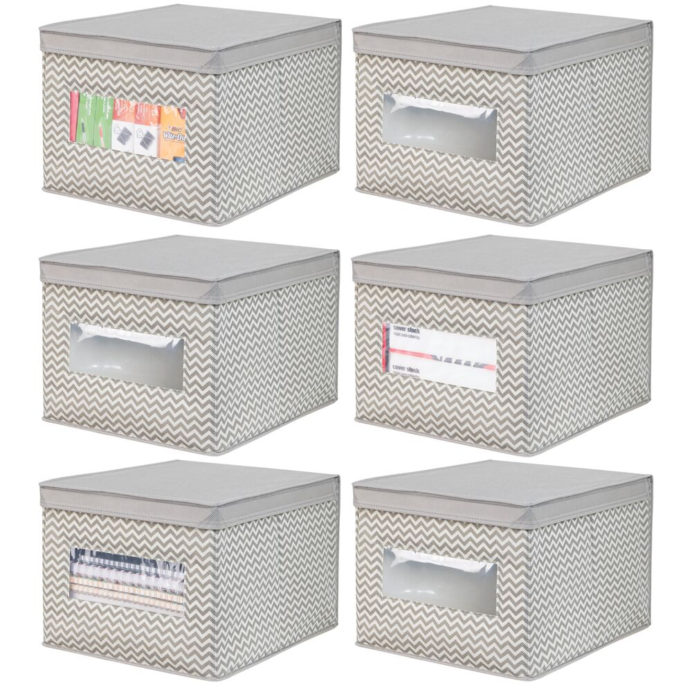 Fabric Home Office Storage Cube Bin in Taupe/Natural, 15.5
