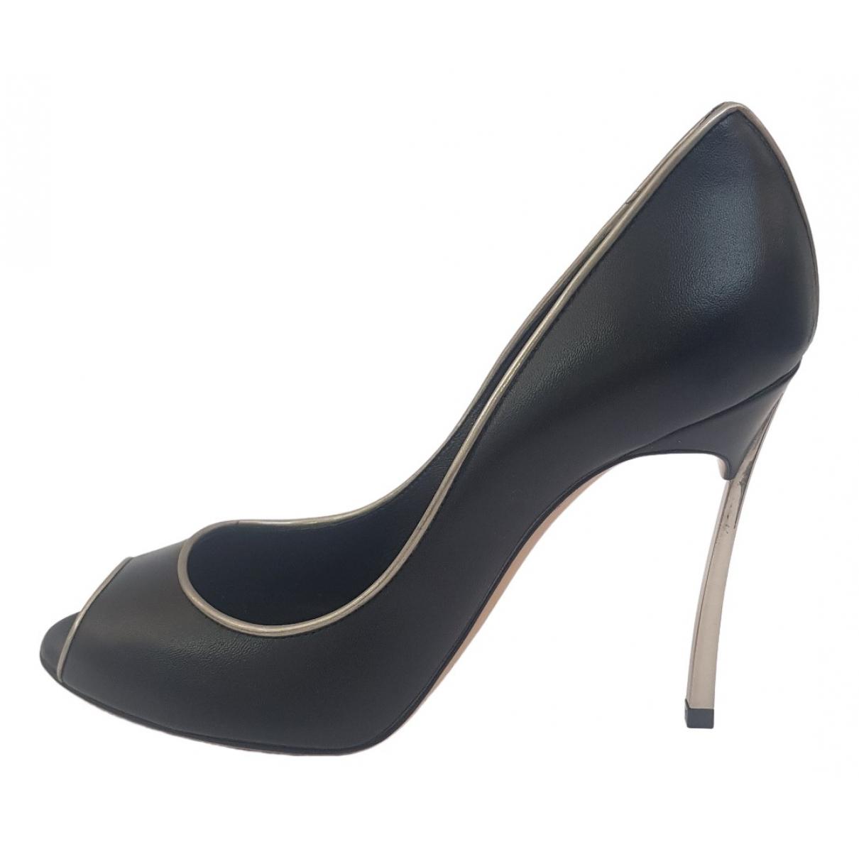 Casadei \N Black Leather Heels for Women 35.5 IT