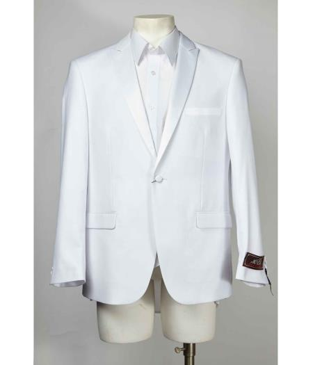 1 Button White Single Breasted Peak Lapel Blazer Tuxedo dinner jacket