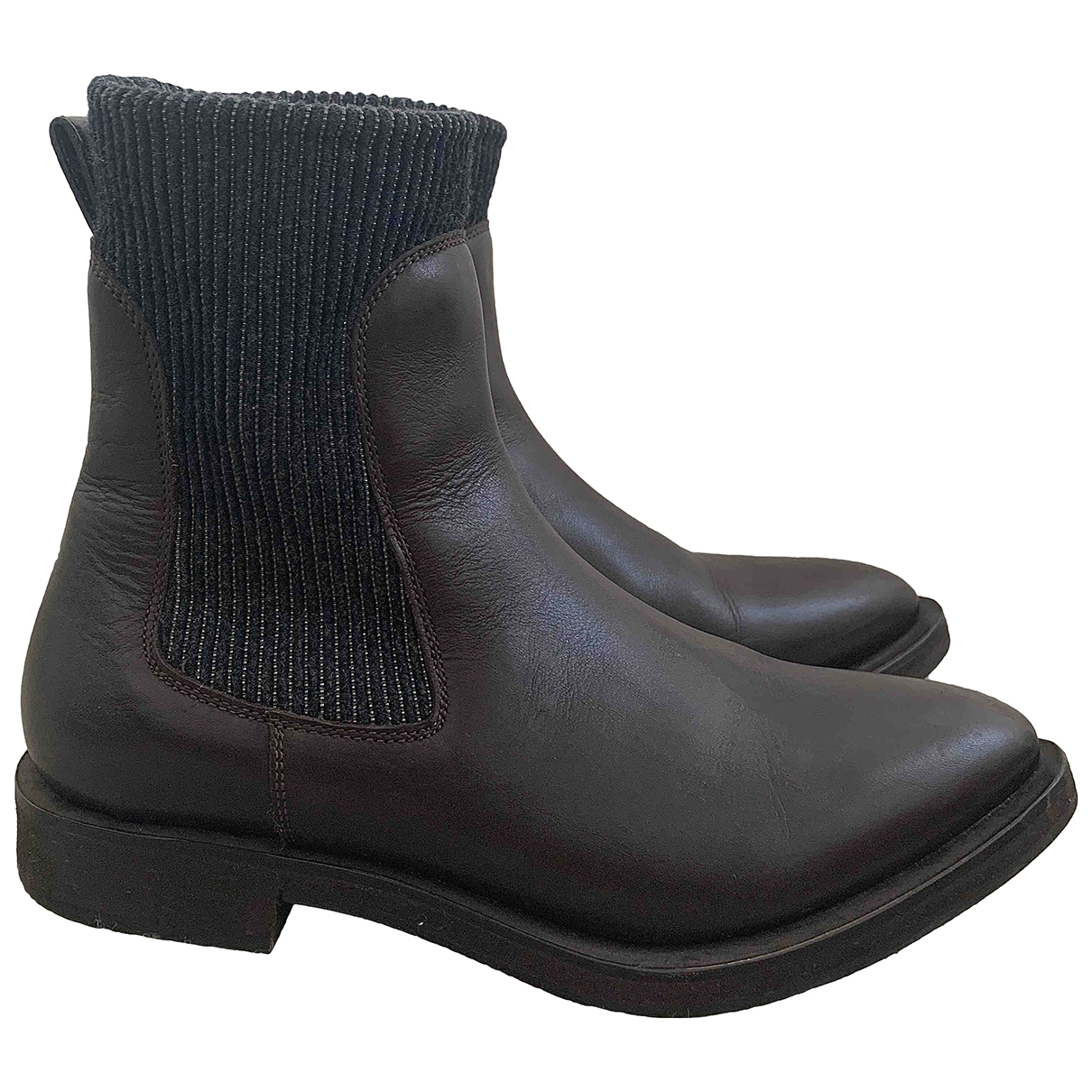Brunello Cucinelli \N Brown Leather Ankle boots for Women 37 EU