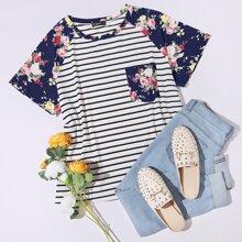 Top mit Blumen Muster, Taschen Flicken, Raglanaermeln und Streifen
