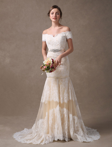 Milanoo Mermaid Wedding Dresses Lace Off The Shoulder Rhinestones Beaded Colored Bridal Dress With Train