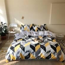 Bettwaesche Set mit Marmor Muster ohne Fuellstoff