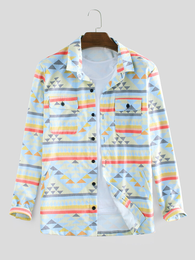 Mens Corduroy Colorful Abstract Pattern Double Pockets Long Sleeve Loose Jacket Shirts