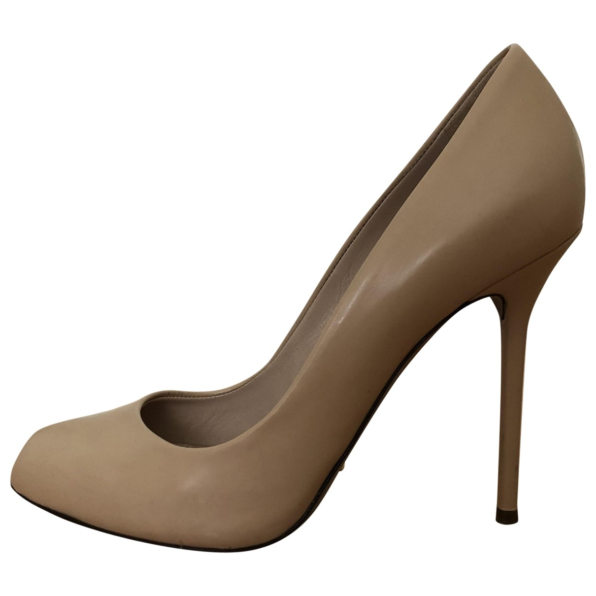 Sergio Rossi \N Beige Leather Heels for Women 37.5 EU