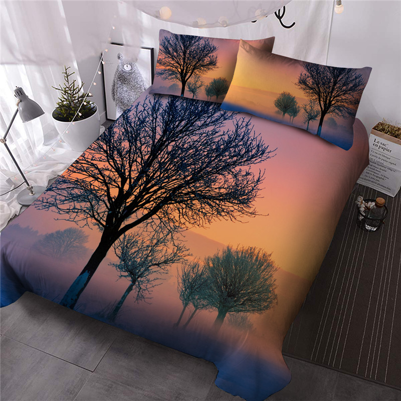 Withered Trees Hand Wash Reactive Printing Three-Piece Set Comforter Set Polyester Bedding Sets