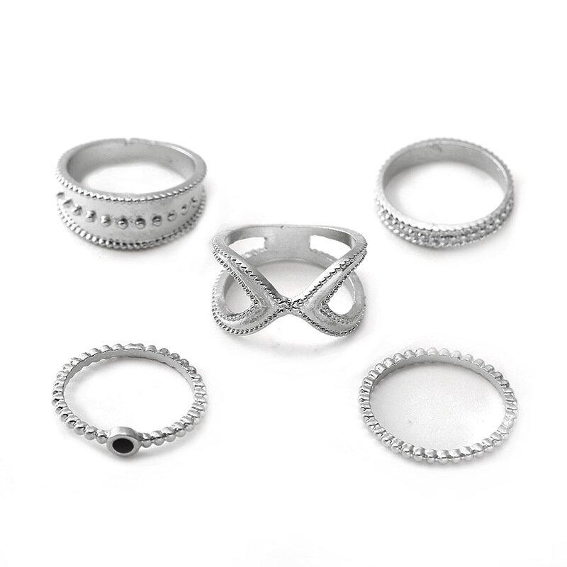 Bohemian Finger Rings Set 5PCS Round Geometric Silver Gold Rings Fashion Jewelry for Women