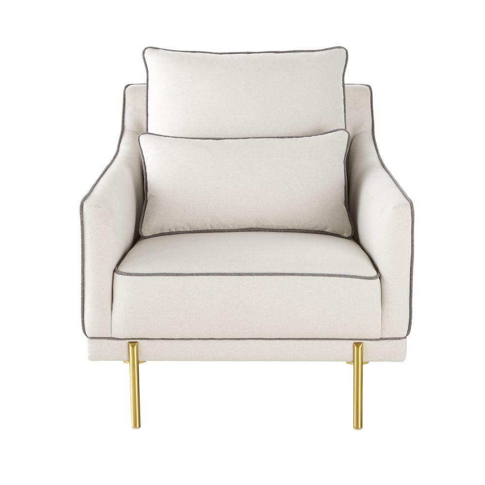 Sessel mit ecrufarbenem und grauem Samtbezug und messingfarbenen Metallfuessen Rachel