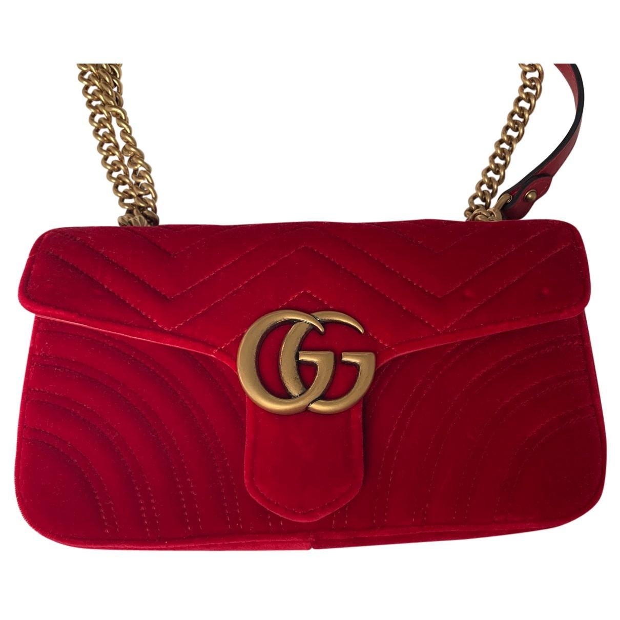 Gucci Marmont Red Velvet handbag for Women \N