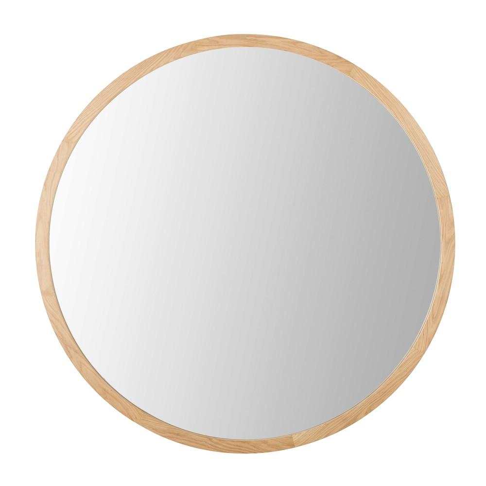 Runder Spiegel mit Eichenholzrahmen D159