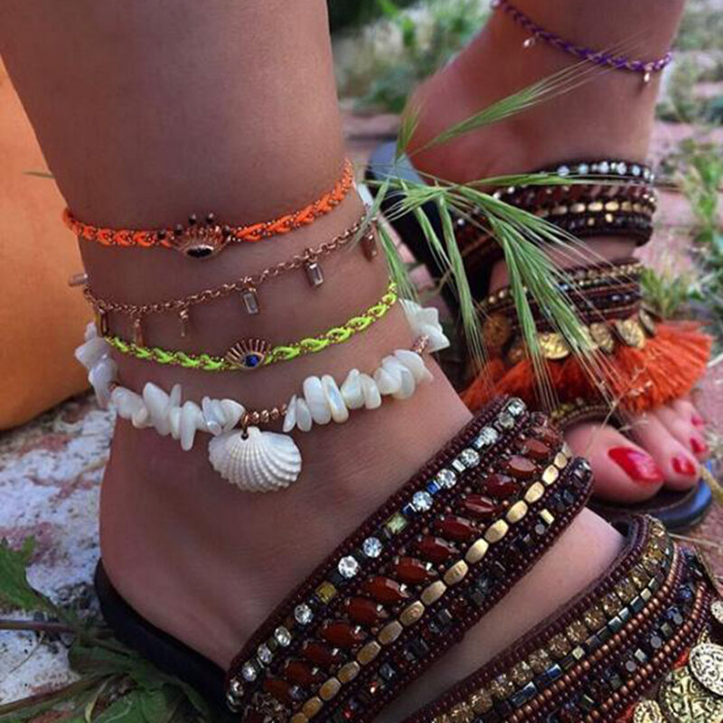 Bohemian Fluorescent Braided Rope Eye Pendant Anklet Natural Shell Irregular Turquoise Beaded Multi-layer Anklet