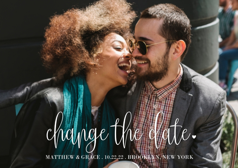 Change the Date 5x7 Cards, Premium Cardstock 120lb with Scalloped Corners, Card & Stationery -Change the Date Lettering by Tumbalina