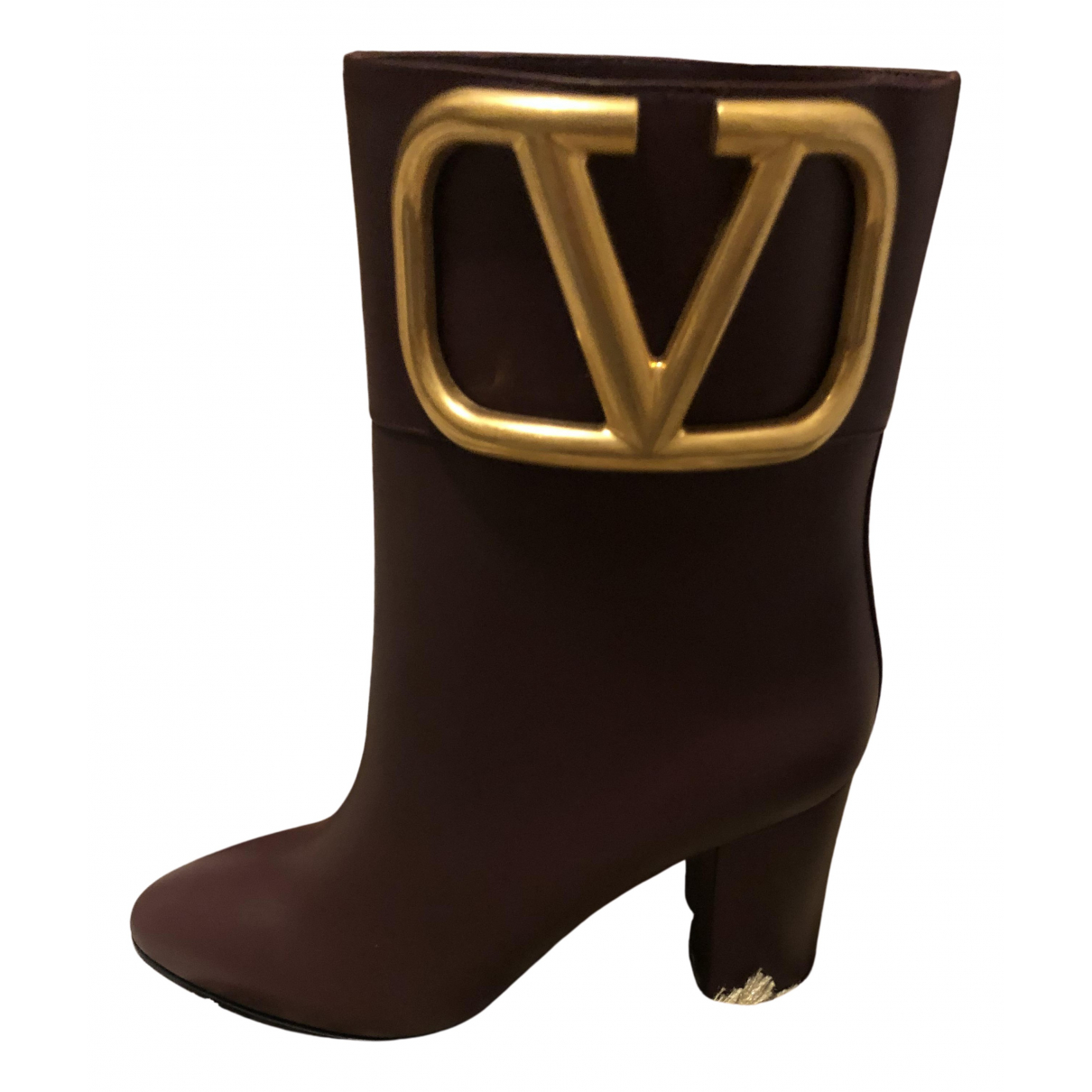 Valentino Garavani \N Stiefeletten in  Bordeauxrot Leder