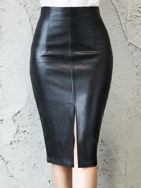 Milanoo Women Skirt Black Split Front PU Leather Knee Length Autumn And Winter Women Bottoms