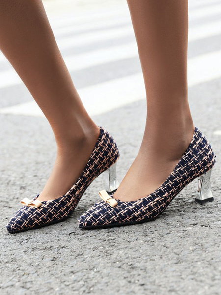 Milanoo Women Mid-Low Heels Pointed Toe Chunky Heel Pattern Slip-On Bows Black Pumps