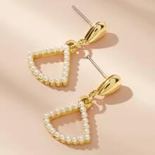 1 par pendientes largos con diseño de abanico con perla artificial