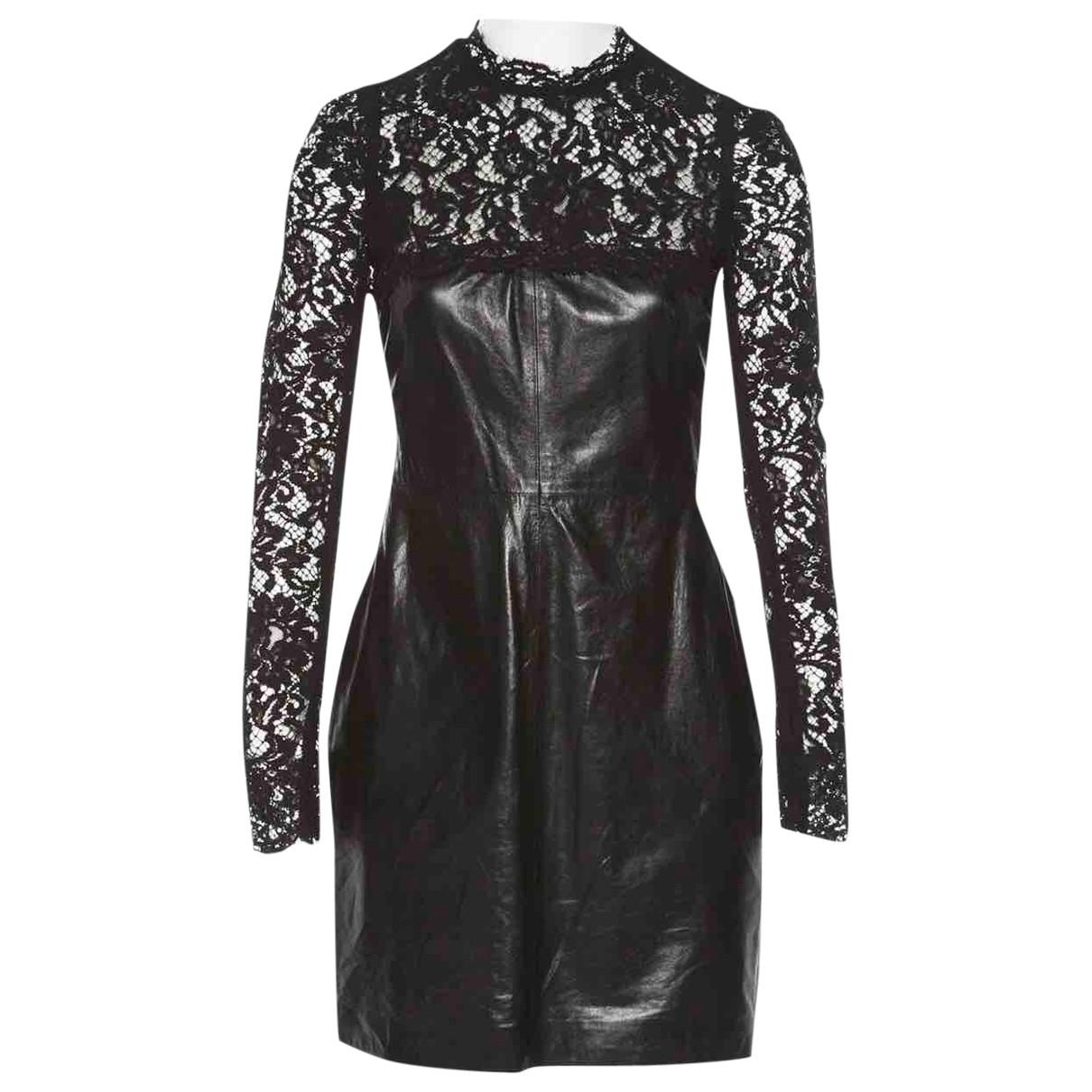 Valentino Garavani \N Black Leather dress for Women 44 IT