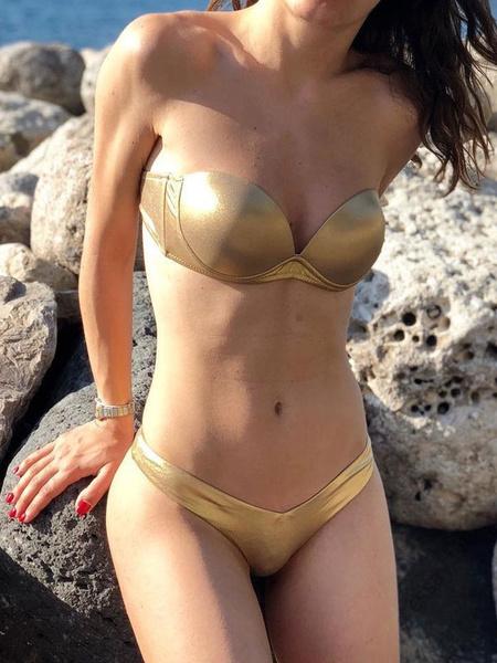 Milanoo Sexy Bikini Swimwear Strapless Knotted Push Up Bikini Swimsuit