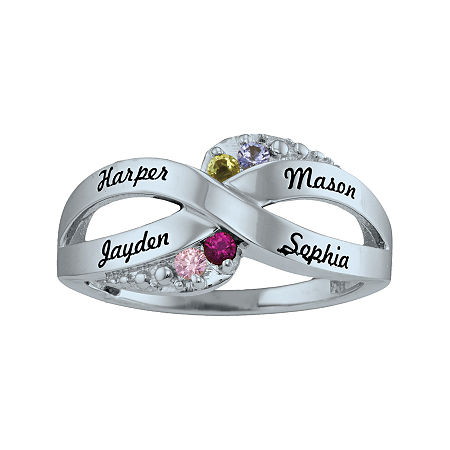 Personalized Simulated Birthstone Engraved X Ring, 6 , White