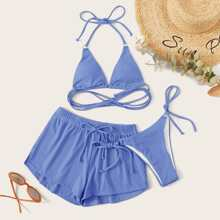 Sets de bikini Cinta Liso Azul Dulce