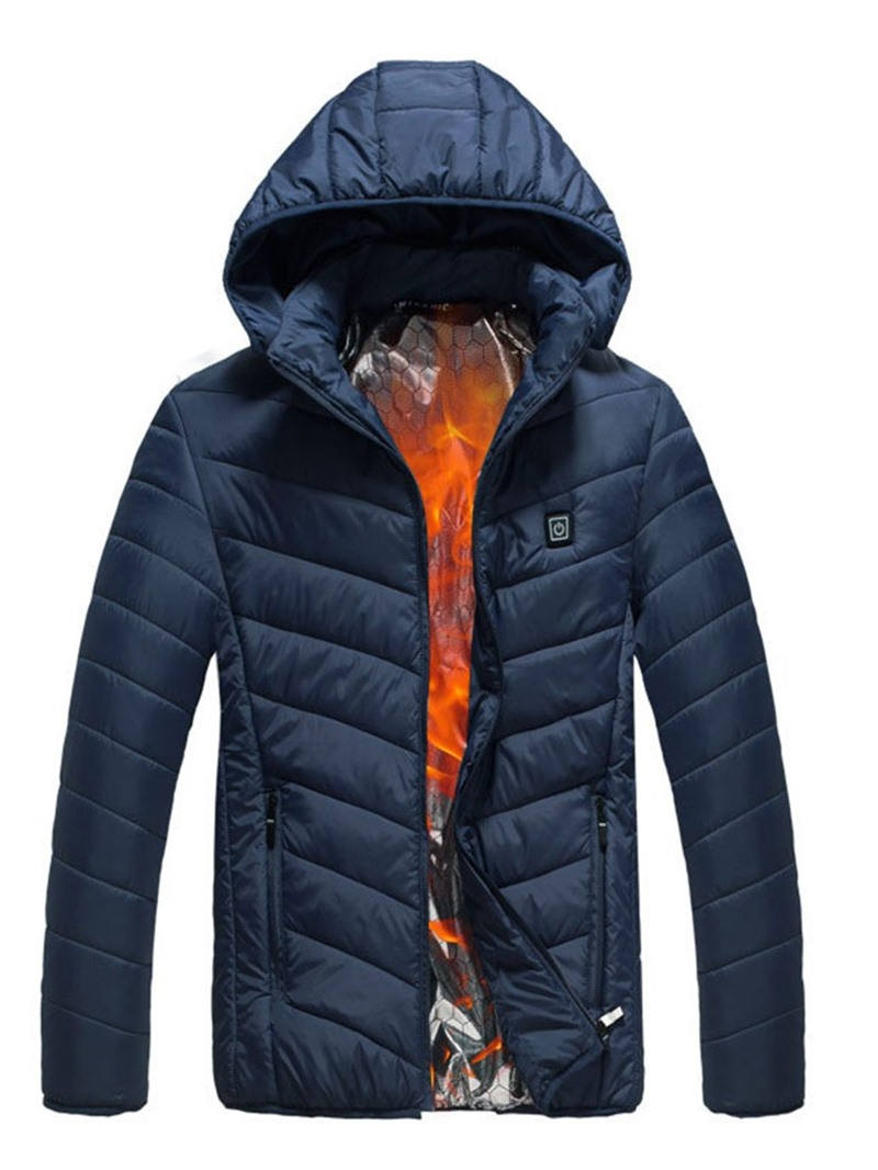 Ericdress Plain Hooded Patchwork Casual Zipper Men's Down Jacket