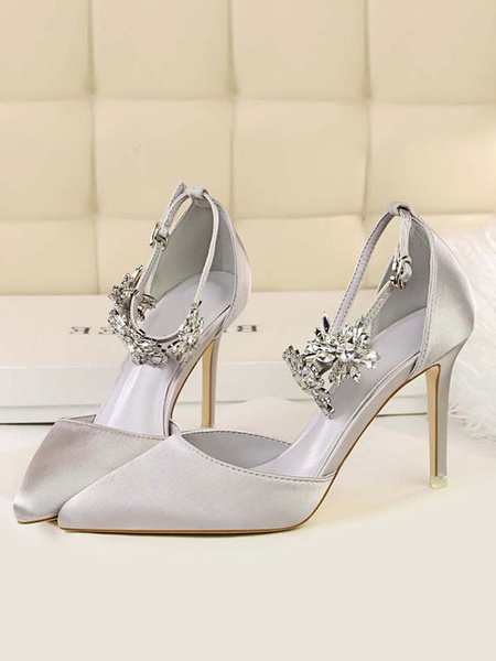 Milanoo High Heel Party Shoes Silver Pointed Toe Rhinestones Evening Shoes