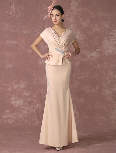 Milanoo Vestido de noche tela saten de color champaña con manga corta con cuello en V con cuentas