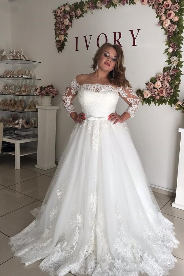 Precioso vestido de novia de talla grande de princesa de encaje de manga larga con hombros descubiertos
