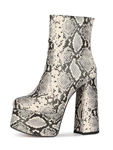 Milanoo Botas de tobillo para mujer Botas de plataforma de tacon grueso con punta redonda y estampado de piton de cuero PU